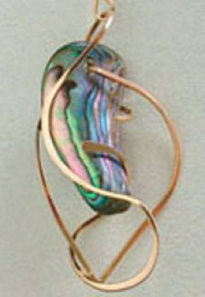 Earring: Paua Shell & Gold-Filled: one of a kind