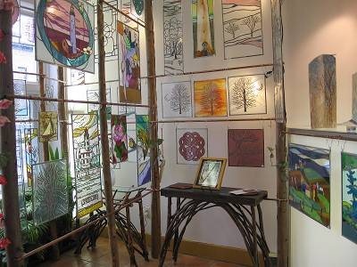 stained glass, rustic furniture, clay tiles