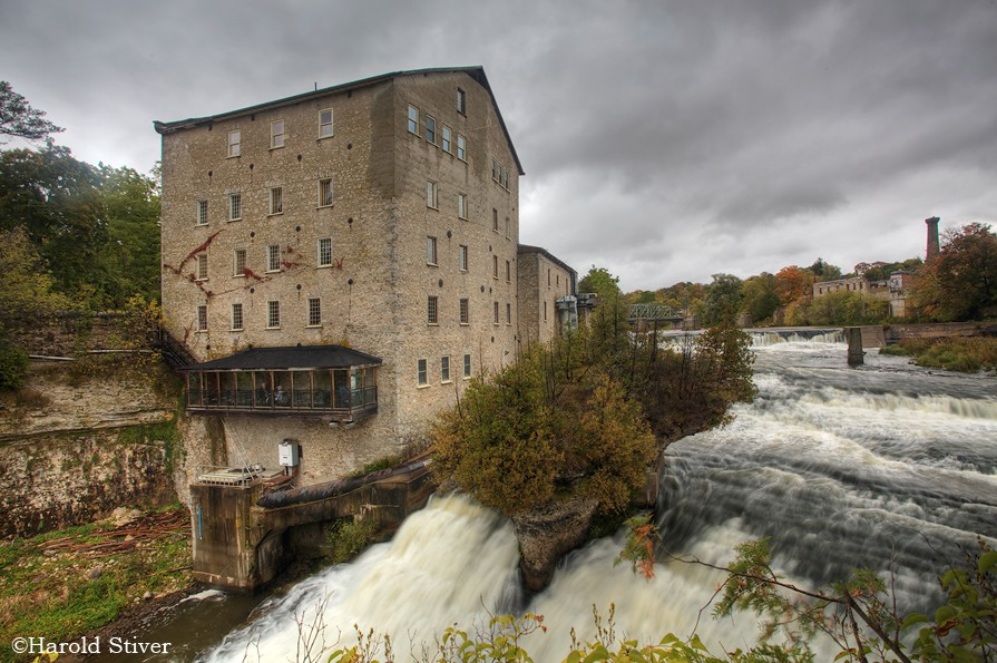 Elora Mill From the town of Elora, this six story mill was built in 1859. The whole area is a great place to visit, especially for photographers. The mill is beside the Elora Waterfall.
